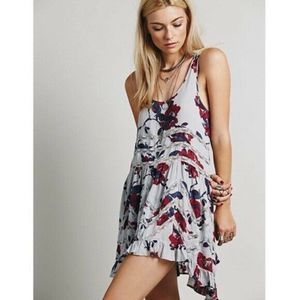 Intimately Free People Gray Floral Trapeze Dress
